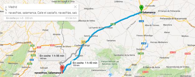 como llegar a Navasfrías desde Salamanca por ciudad rodrigo