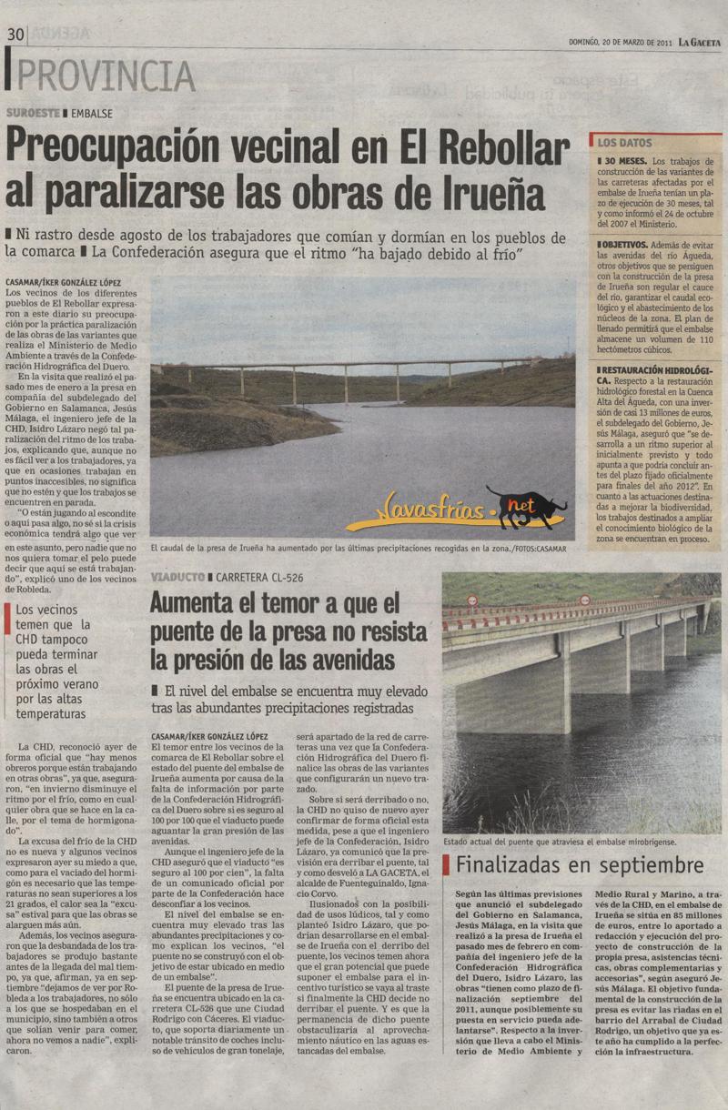 Navasfrias - Ciudad rodrigo: Se paralizan las obras en irueña, mientras crece la preocupación por que el puente no resista la presión.
