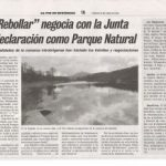 The proposal to convert the national park Rebollar not going well