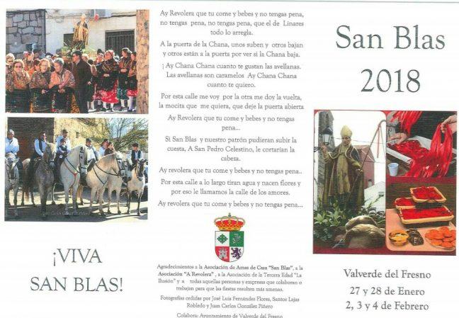Cabecera San blas 2018, Fiestas de San Blas en Valverde del Fresno